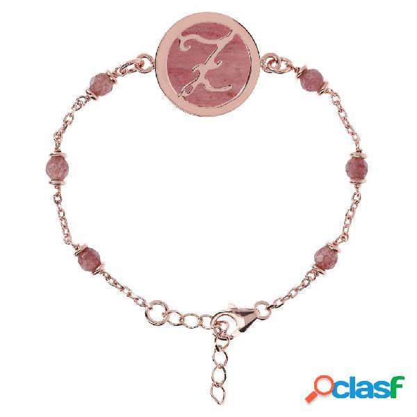 Bracciale iniziale con rodolite | rose gold / d / rodonite