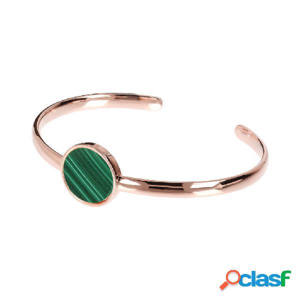 Bracciale rigido circular con pietra naturale | rose gold / 17.80cm / malachite