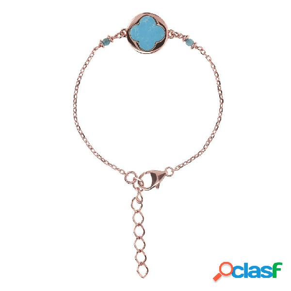 Bracciale portafortuna quadrifoglio alba | rose gold / 16.50cm+3.81cm / magnesite