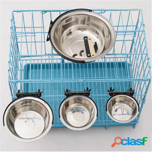 Mangiatoia per ciotola d'acqua per cibo da appendere in acciaio inossidabile per cuccioli di cane per gabbia a gabbia