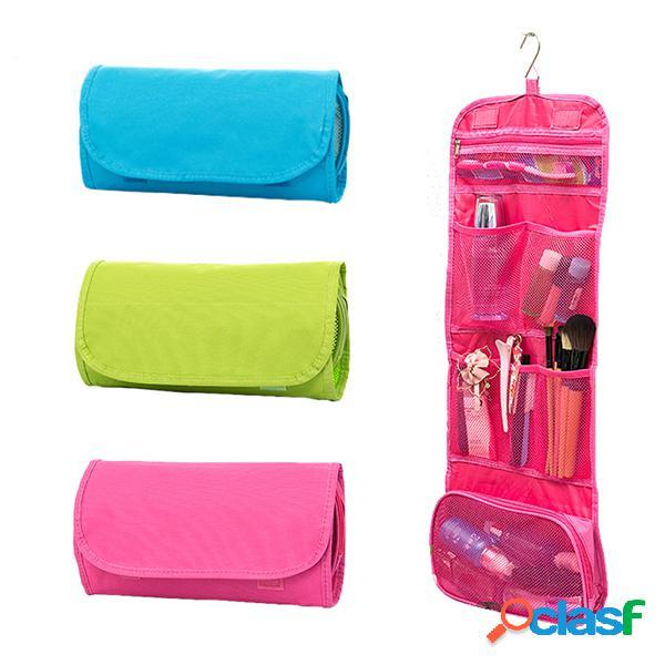 Borsa organizzatrice appendente portatile sacchi cosmetici pieghevoli per la custodia dei cosmetici da viaggio