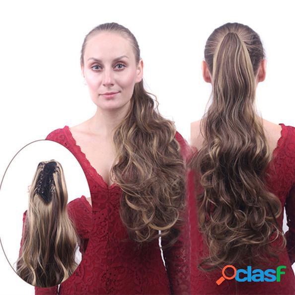 Clip a coda di cavallo riccia lunga flip capelli code a più colori capelli estensioni avvolgenti capelli pezzi