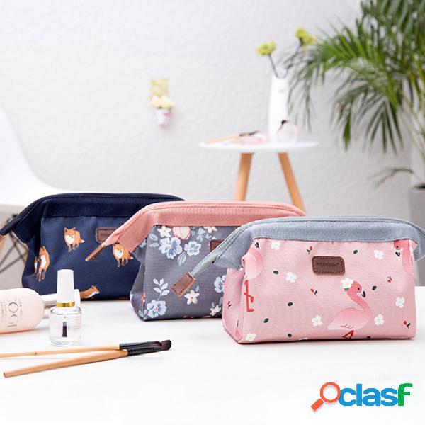 Flamingo art printing plant cosmetico stile retrò borsa semplice stoccaggio portatile borsa