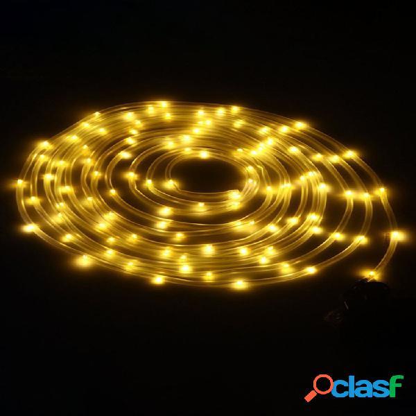 Solare alimentato 12 m 100 led rame luce a filo fata impermeabile per tubo metallico per natale