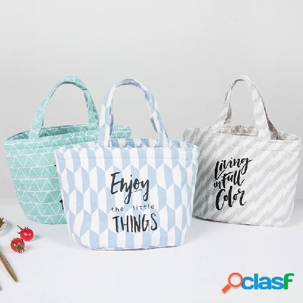 Pranzo isolamento in cotone e lino con coulisse lettera borsa barilotto cosmetico borsa viaggio picnic all'aperto
