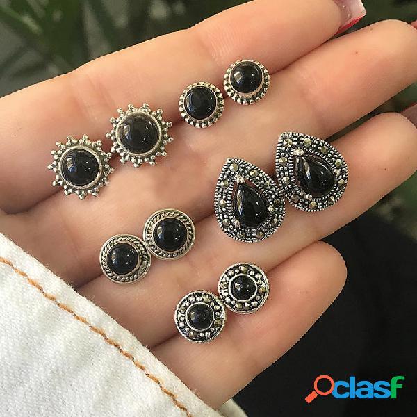 Orecchini a bottone vintage a fiore nero con orecchini a goccia in metallo etnici geometrici etnici