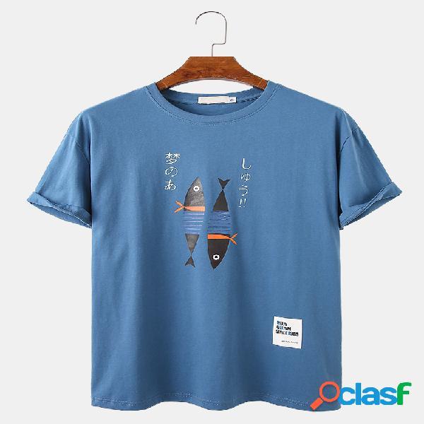 T-shirt con scollo a o casual casual larghe con stampa di pesci e personaggi