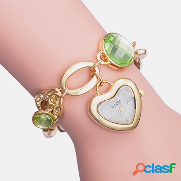 Orologio da donna semplice carino in lega banda diamond jewel orologio da polso al quarzo a forma di cuore