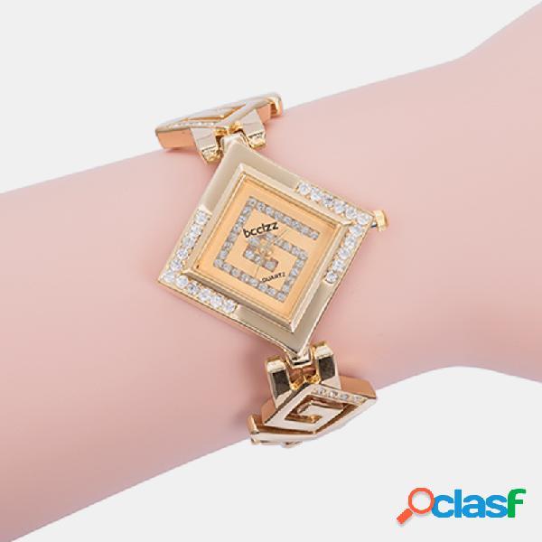 Orologio da donna elegante e alla moda, acciaio al diamante banda, orologio da polso al quarzo rombo unico