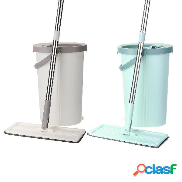 Mop a secchio piatto pulizia in fibra lavaggio a centrifuga a mano libera ultrafine magia mop per pavimenti