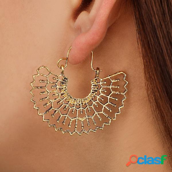 Orecchini a forma di ventaglio in metallo vintage orecchini etnici con ciondolo a forma di fiore geometrico intagliato