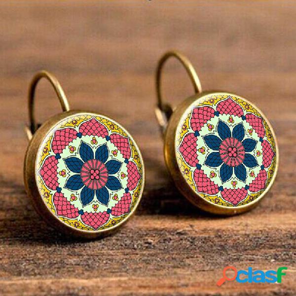 Orecchini pendenti etnici della goccia del fiore degli orecchini dell'orecchino della goccia rotonda della boemia per le donne