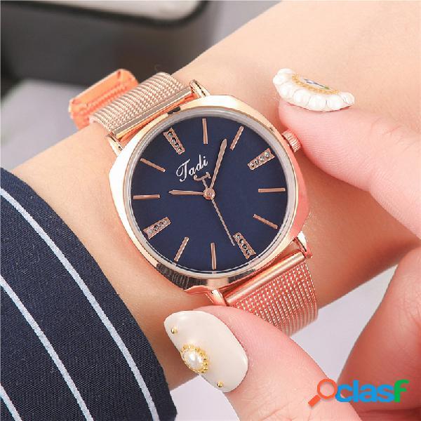 Orologio da donna elegante da uomo in lega piena banda orologio al quarzo super leggero con quadrante numerico regolabile