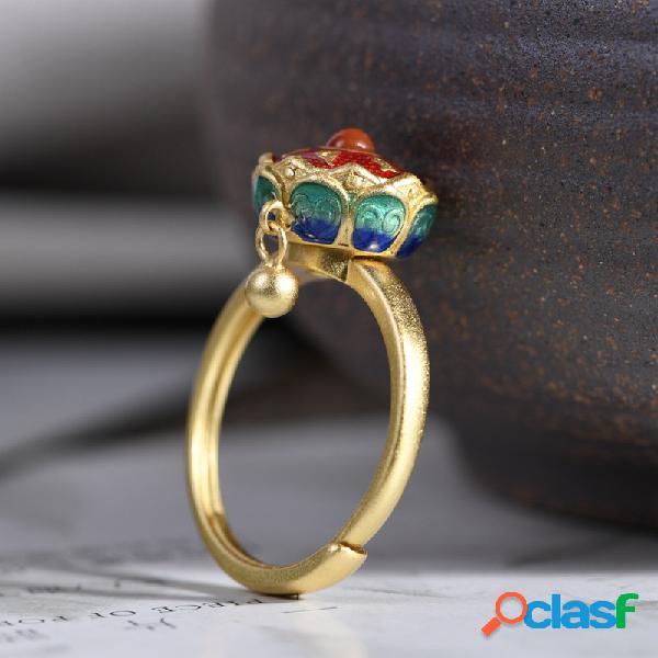 Anello in argento 925 con smalto placcato in oro, ciondolo a sfera in metallo, anello da donna girevole con mantra a sei caratteri