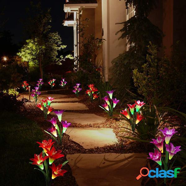 2pcs 4led solare power lily flower stake light multicolor cambiare lampade da giardino esterne impermeabili