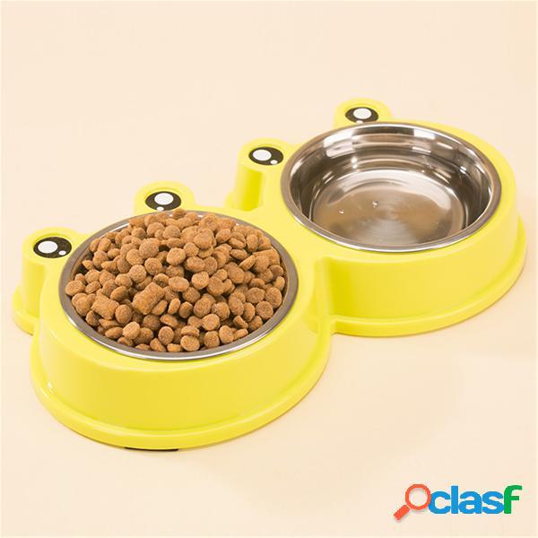 3 colori animali domestici cartone animato stile rana cibo ciotola d'acqua cane gatto acciaio inossidabile piatto di alimentazione antiscivolo