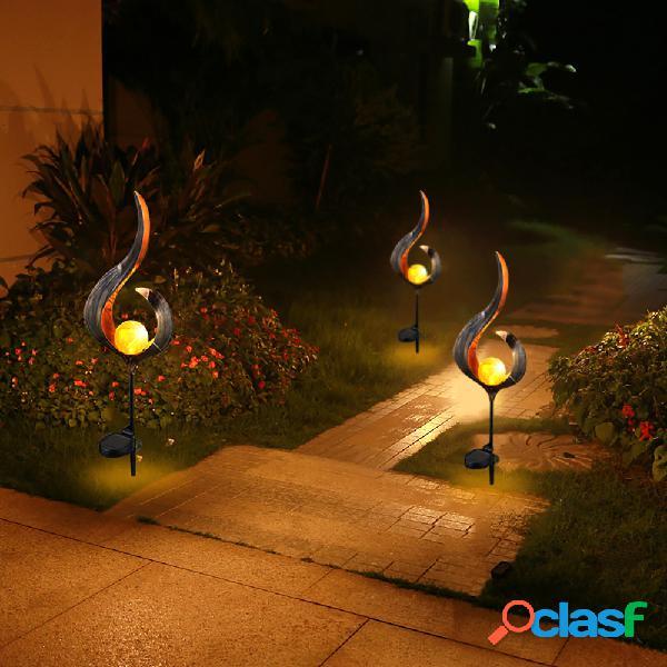 Solare power metal led ornamento paesaggio luce esterno fiamma effetto prato giardino giardino