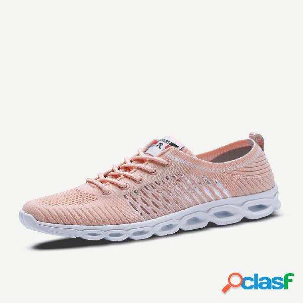 Scarpe da ginnastica con lacci in mesh traspirante hollow sports walking soft
