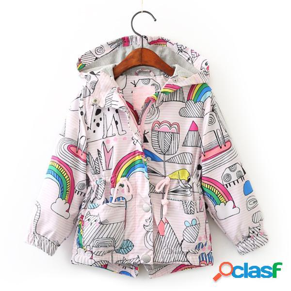 Rainbow print girls cappotti capispalla bambini giacche con cappuccio vestiti per bambini per 3y-11y