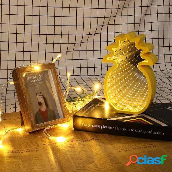 Specchio creativo carino ananas lampada led luce notturna a tunnel per atmosfera per bambini luce bianca / bianco caldo