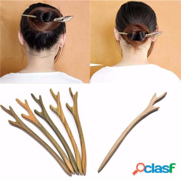 1 pc handmade wooden capelli pin bastone chopstick in legno intagliato capelli accessori