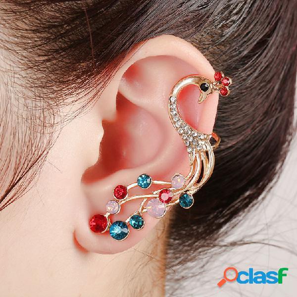 1 pc orecchini etnici pavone in argento orecchini strass colorati per le donne