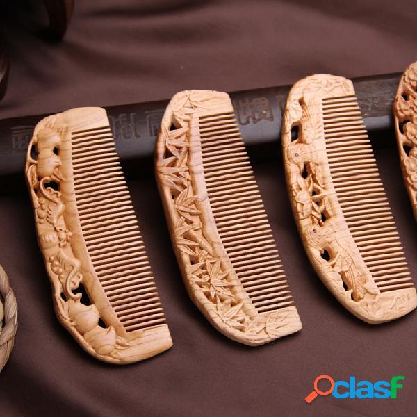 Pettine di legno antistatico pettine di legno naturale pettine di legno intagliato pettini retrò stile cinese