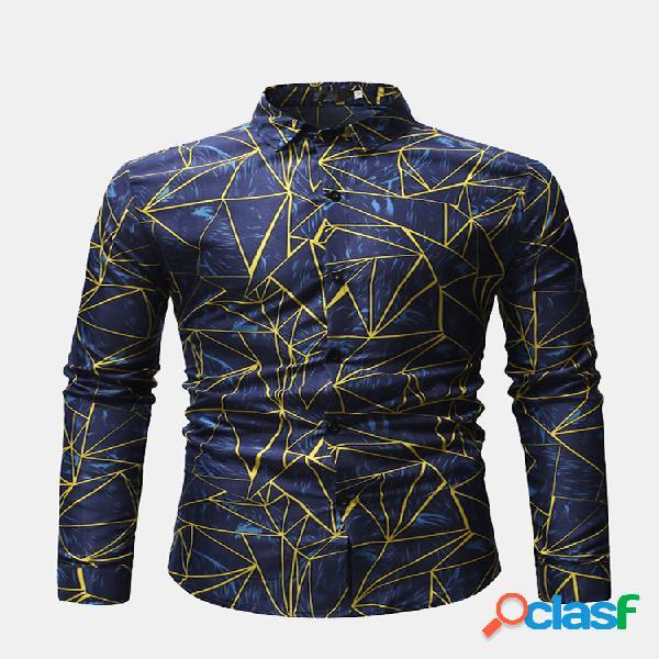 Casual camicia per uomo manica lunga con colletto rovesciato stampato geometria