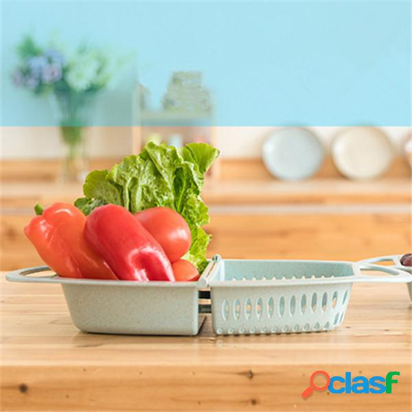 Cesto di scarico pieghevole da cucina multifunzione cesto di plastica per piatti cesto di frutta cesto di lavaggio