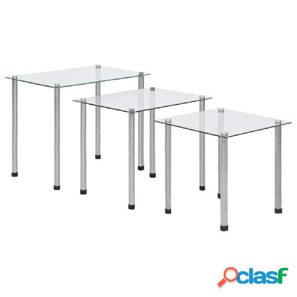 Vidaxl tavolini impilabili 3 pz in vetro temperato trasparente