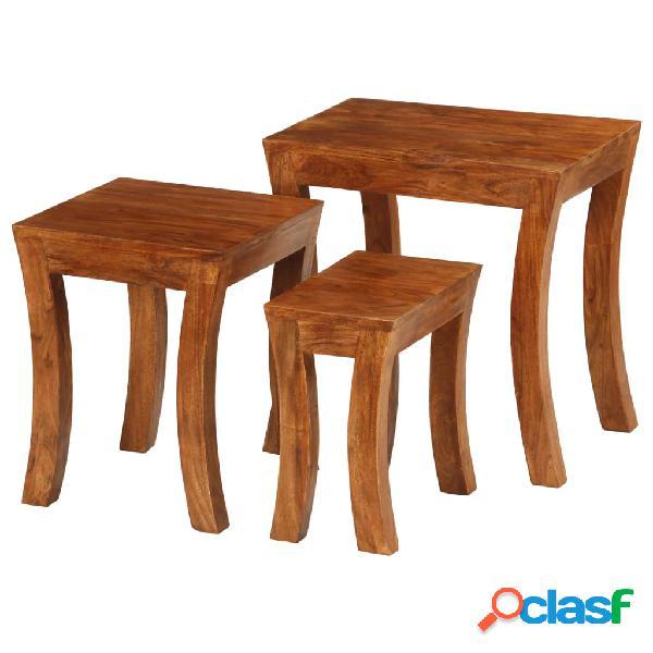 Vidaxl tavolini impilabili 3 pz massello di acacia 50x35x50cm marrone