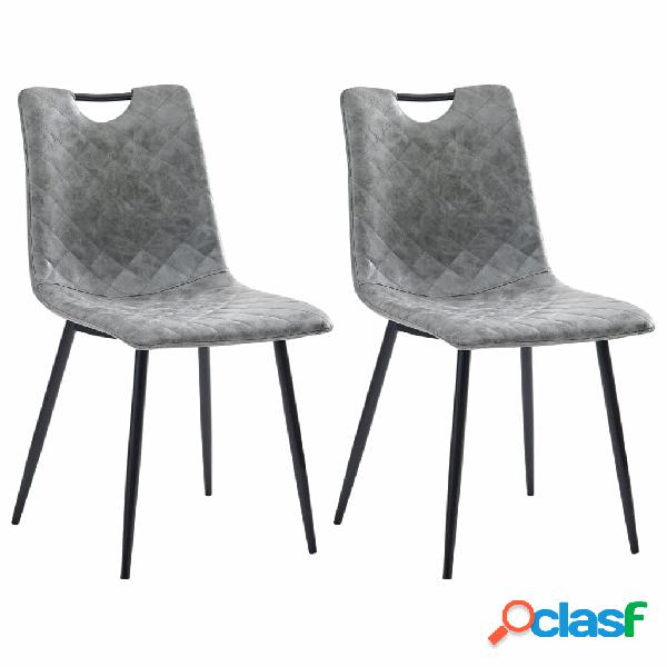 Vidaxl sedie da pranzo 2 pz grigio scuro in similpelle
