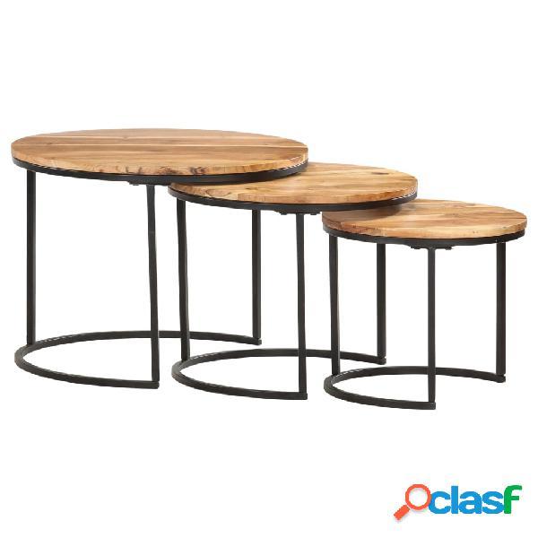 Vidaxl tavolini impilabili 3 pz in legno massello di acacia