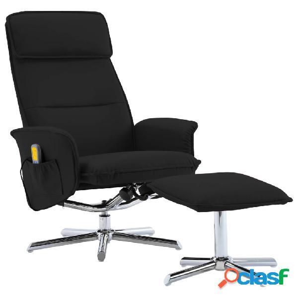 Vidaxl poltrona massaggiante reclinabile e poggiapiedi nera similpelle