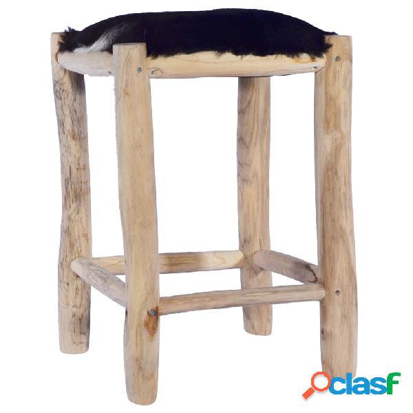 Vidaxl sgabello da bar in vera pelle di capra e legno massello di teak