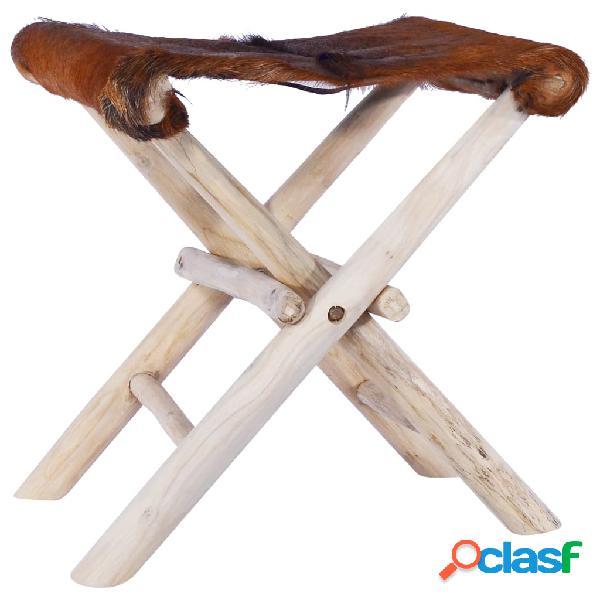 Vidaxl sgabello pieghevole in vera pelle di capra e legno di teak