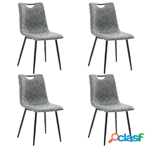 Vidaxl sedie da pranzo 4 pz grigio scuro in similpelle