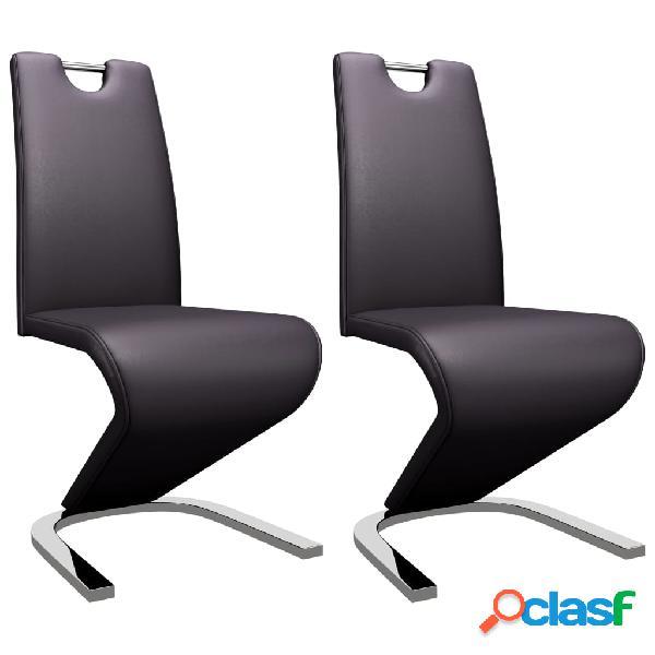 Vidaxl sedie da pranzo con struttura a zigzag 2 pz marroni similpelle