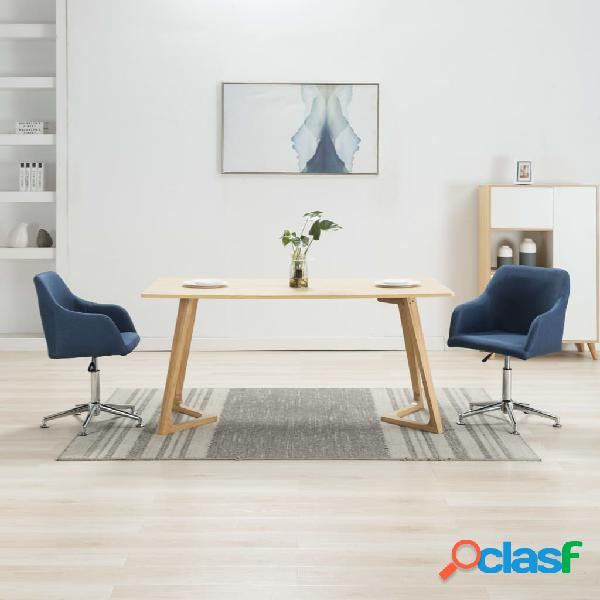 Vidaxl sedie da pranzo girevoli 2 pz blu in tessuto