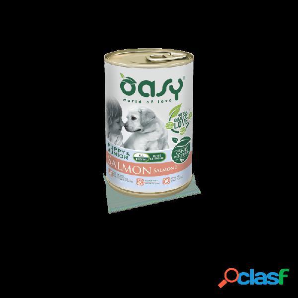 Oasy - oasy one protein puppy cibo umido per cani salmone 6 lattine da 400 gr