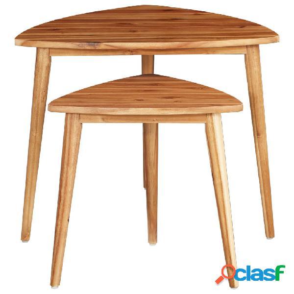 Vidaxl tavolini impilabili 2 pz in legno massello di acacia