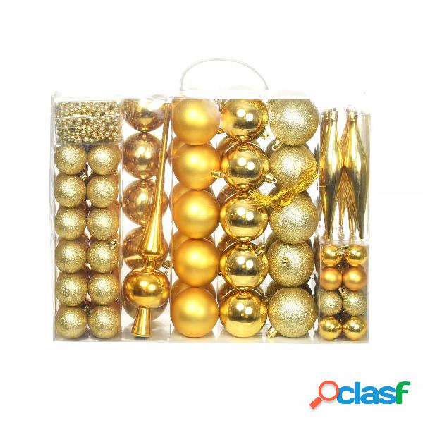 Vidaxl set palline di natale 113 pz 6 cm oro