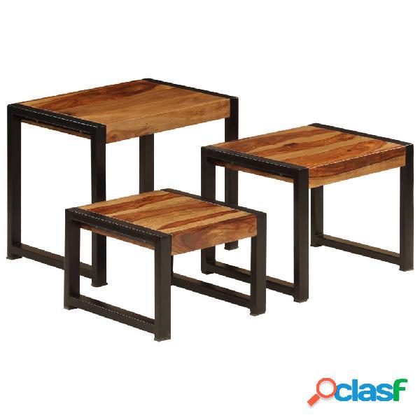 Vidaxl tavolini impilabili 3 pz in legno massello di sheesham