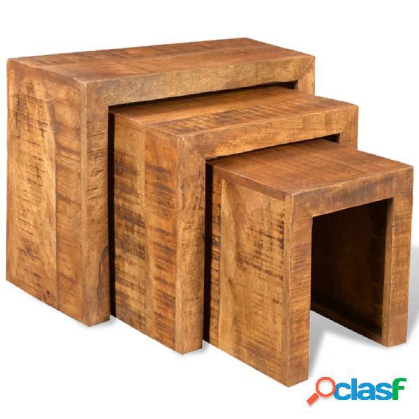 Vidaxl tavolini impilabili set 3 pz in legno massello di mango
