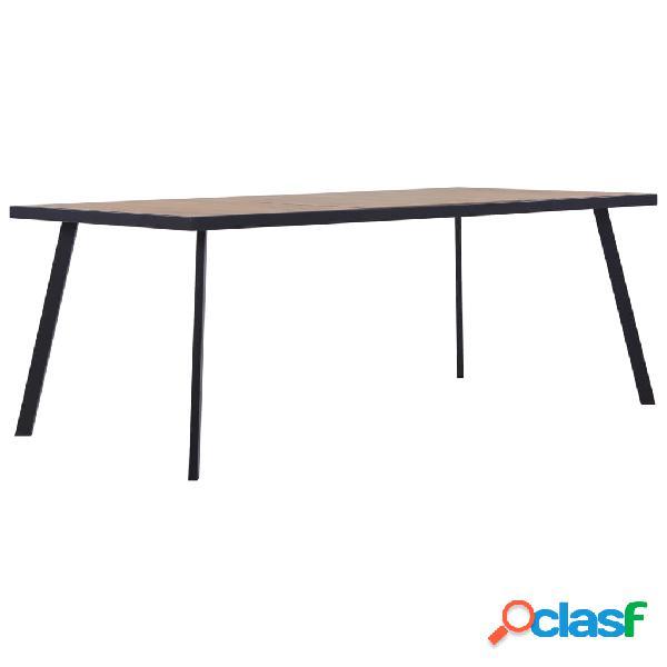 Vidaxl tavolo da pranzo legno chiaro e nero 180x90x75 cm in mdf