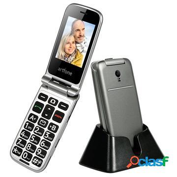 Artfone g3 senior flip telefono - 3g, dual sim, sos - grigio