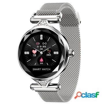 Smartwatch impermeabile femminile elegante con frequenza cardiaca h1 - color argento