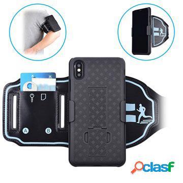 Fascia da braccio sportiva staccabile 2 in 1 per iphone xs max - nera