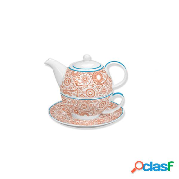Tea for one fulldecor in porcellana bianca e arancione - fantasia