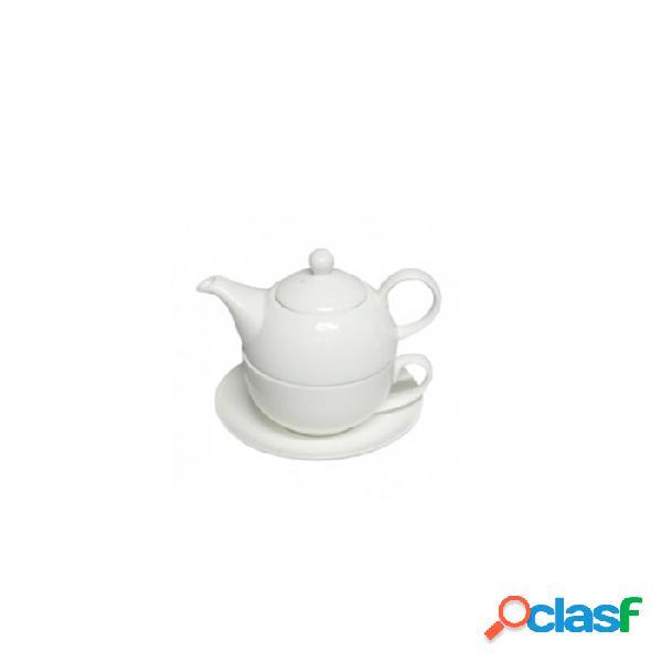 Teiera tea for one con tazza e piatto in porcellana bianca cl 45 - bianco